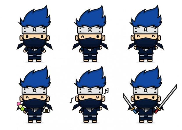 Ensemble de ninja mignon avec une pose différente