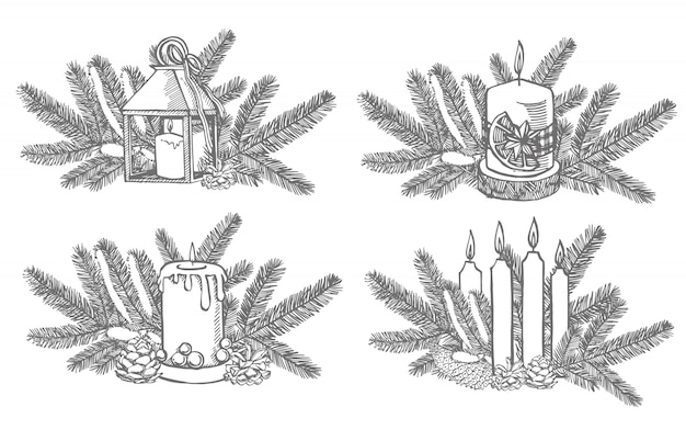 Ensemble de noël. branches d'arbres de noël et bougie. éléments de conception de nouvel an et de noël. . illustration vintage.