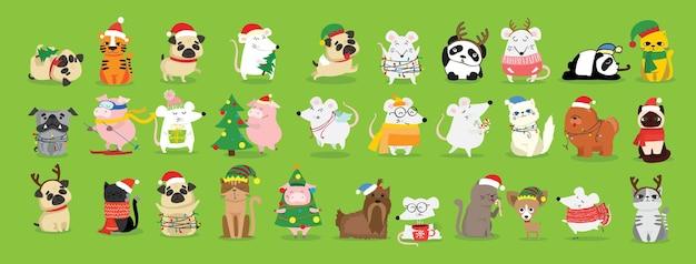 Ensemble de noël de différents animaux et symbole de noël de l'année tigre, rat, chat, chien avec des cadeaux et autres