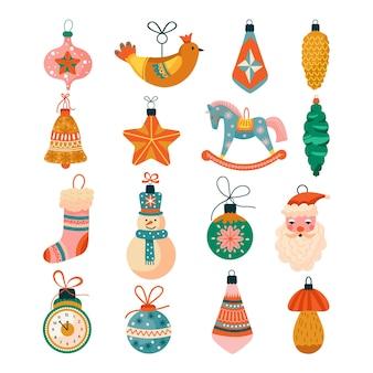 Ensemble de noël de diverses décorations pour arbres.