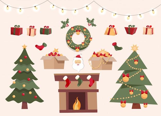 Ensemble de noël avec des éléments décoratifs, deux arbres de noël différents, jouets dans des boîtes, boîtes-cadeaux, boules, guirlandes, père noël, chaussettes de noël, guirlande