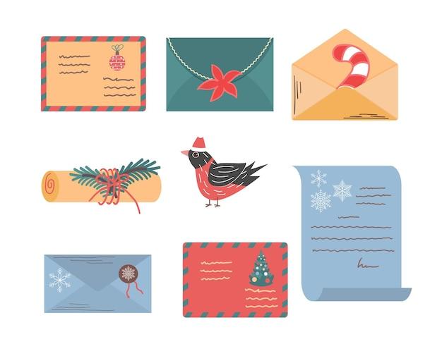 Ensemble de noël d'enveloppes et de lettres à la collection de courrier décorée santa nouvel an