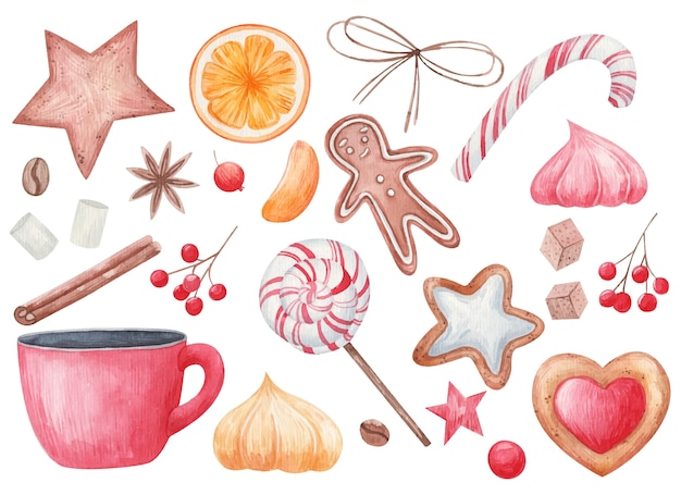 Ensemble de noël, épices et goodies de noël, sucettes, une tasse de café, tranches d'agrumes, biscuits, anis étoilé, illustration aquarelle sur fond blanc