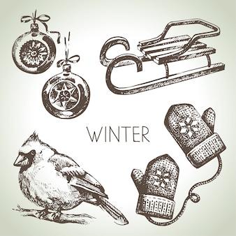 Ensemble de noël hiver dessiné à la main