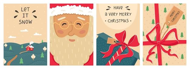 Ensemble de noël mignon de 4 cartes de voeux de nouvel an.