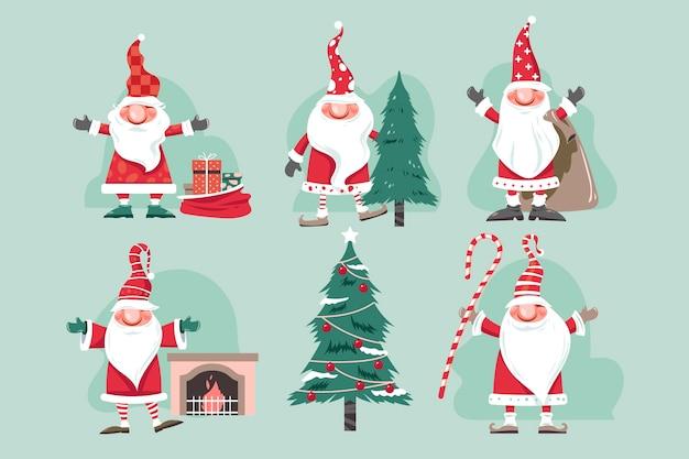 Ensemble, de, noël, mignon, dessin animé, gnomes, père noël, caractère