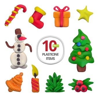 Ensemble de noël en pâte à modeler vectorielle faite à la main. illustration vectorielle de bonbons, chaussette, cadeau, étoile, bonhomme de neige, arbre de noël, cloche, bougie, branche de sapin et houx européen isolé sur fond blanc