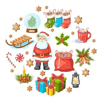 Ensemble de noël. père noël, chaussettes, cadeaux, lanterne, cacao, biscuits, bougies, luge, jouets, cadeaux