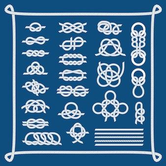 Ensemble de nœuds de bateau de mer.