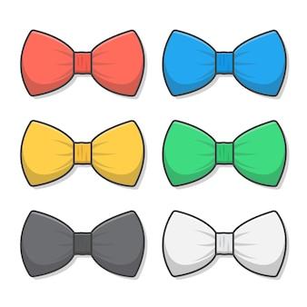 Ensemble de noeuds papillon dans différentes couleurs icône illustration
