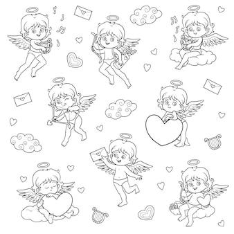 Ensemble noir et blanc d'anges, personnages vectoriels de la saint-valentin