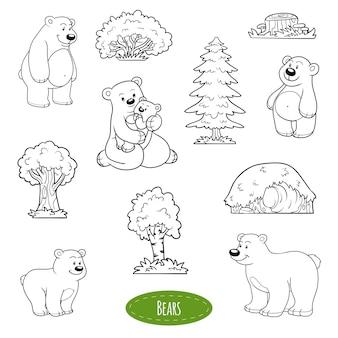 Ensemble noir et blanc d'animaux et d'objets mignons, famille d'ours