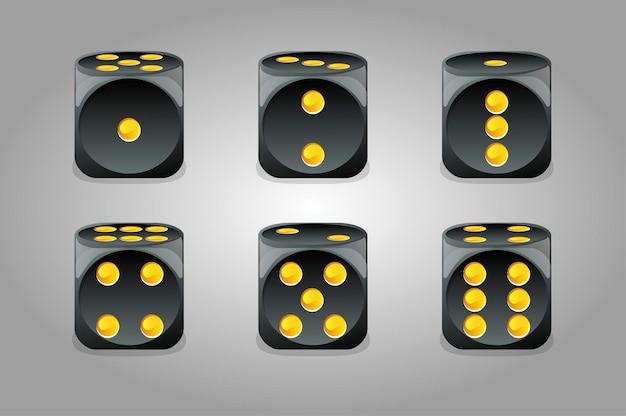 Ensemble de dés noirs de jeu isolés. une collection de dés pour jouer de différents côtés.