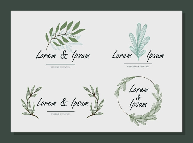 Ensemble de nom de mariage emblématique nature