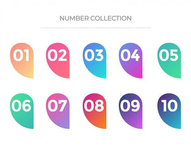 Ensemble de nombres de 01 à 10, collection d'icônes