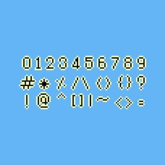 Ensemble de nombres 8 bits pixel art.