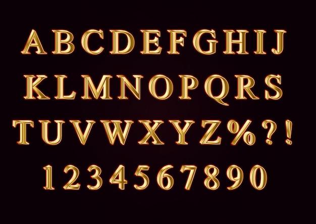 Ensemble de nombres d'alphabets 3d en or doux