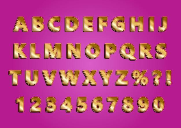 Ensemble de nombres alphabets dorés brillants