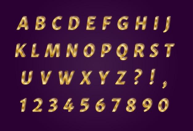 Ensemble de nombres d'alphabets en or brillant de luxe