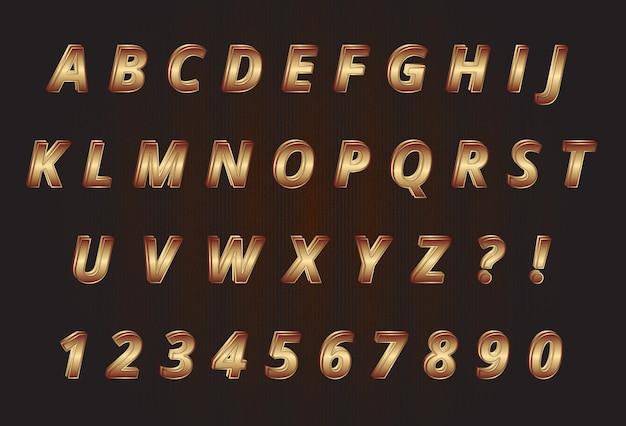 Ensemble de nombres d'alphabets en or doux