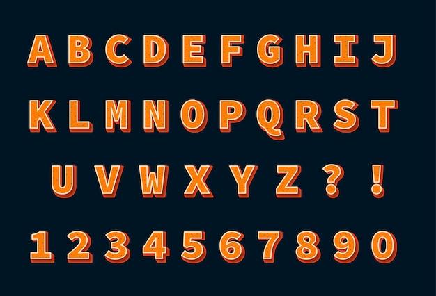 Ensemble de nombres d'alphabets de sable orange 3d