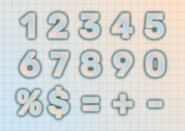Ensemble de nombres au pastel d'objets empilés