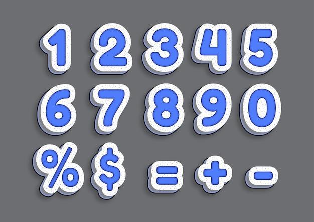 Ensemble de nombres d'effet d'art blue marmer