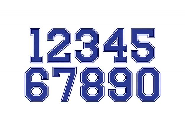 Ensemble de nombres avec des éléments de conception de typographie bleu et blanc