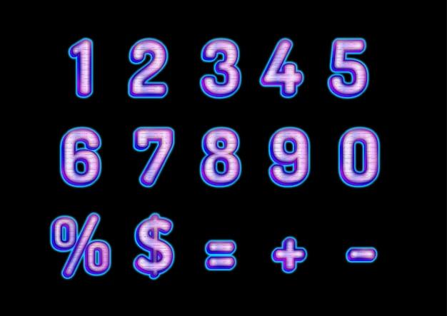 Ensemble de nombres de lueur futuriste