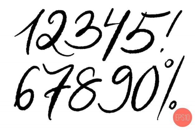 Ensemble de nombres manuscrits calligraphiques.