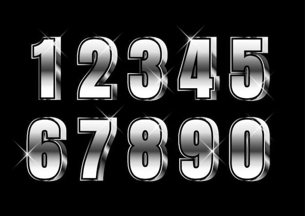 Ensemble de nombres métalliques forts 3d argent