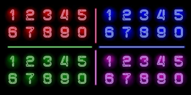 Ensemble de nombres de néons réalistes avec une lueur de couleur néon différente