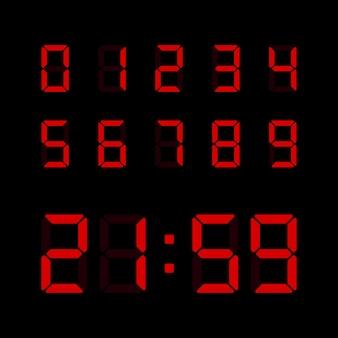 Ensemble de nombres numériques rouges isolé