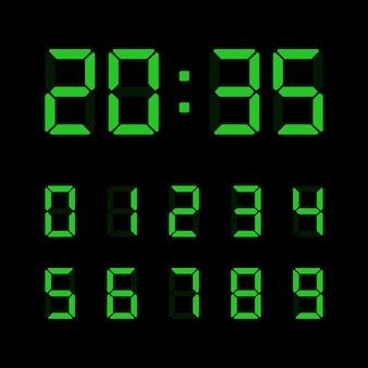 Ensemble de nombres numériques verts isolé.
