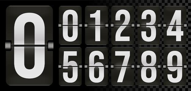 Ensemble de nombres sur le tableau de bord du jour