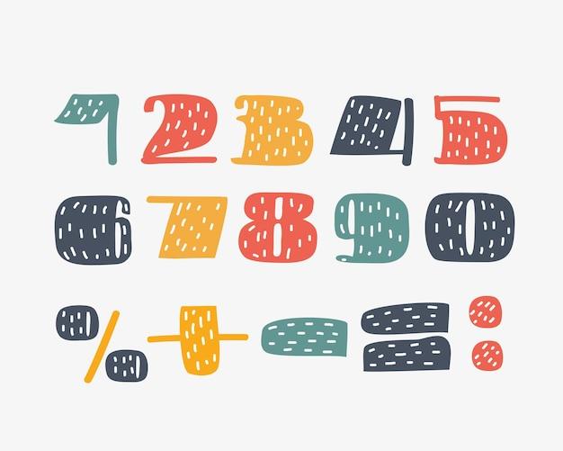 Ensemble de nombres de un à zéro
