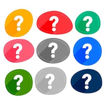 Ensemble de nombreux symboles de points d'interrogation de couleurs