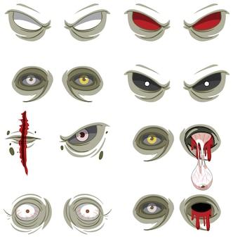 Ensemble de nombreux yeux de zombie effrayants