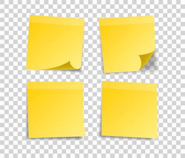 Ensemble de notes d'autocollants jaunes pour votre message.