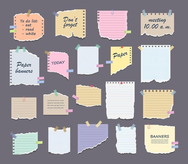 Ensemble de notes papier sur des autocollants