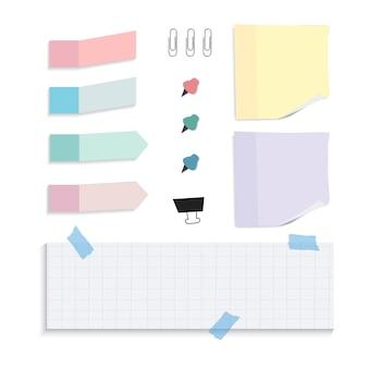 Ensemble de notes de papier de rappel coloré