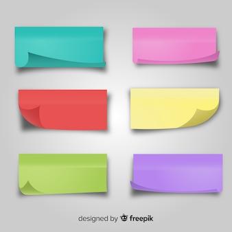 Ensemble de notes de poste colorées dans un style réaliste