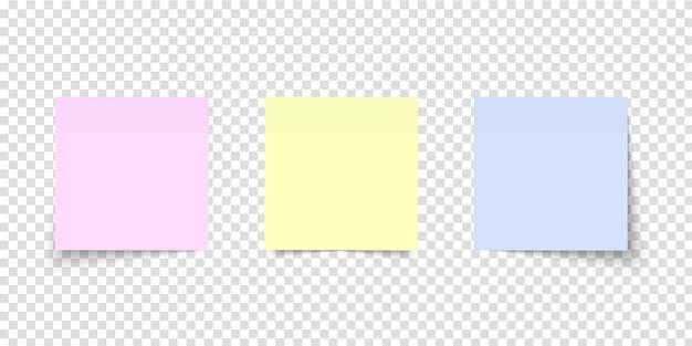 Ensemble de notes de poste. papier autocollant. différentes feuilles de papiers de couleur avec coin recourbé sur fond transparent. notes multicolores.