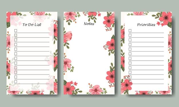 Ensemble de notes pour faire la liste avec des fleurs dessinées à la main bouquet illustration fond imprimable