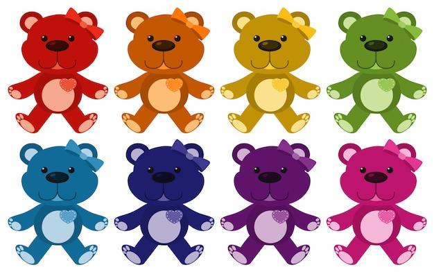 Ensemble de nounours en huit couleurs