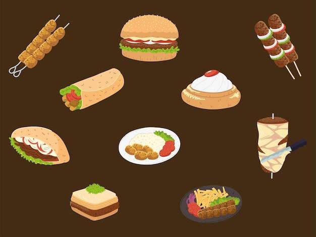 Ensemble de nourriture arabe