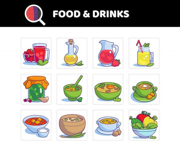 Ensemble de nourriture et de boisson. symbole de couleur. soupe aux tomates, soupe du jour, compote, limonade.