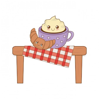 Ensemble de nourriture de boulangerie kawaii en table de pique-nique