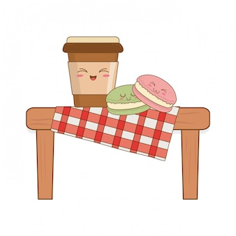 Ensemble de nourriture de boulangerie kawaii en table de pique-nique