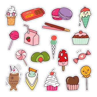 Ensemble de nourriture à dessert kawaii collection de patchs de mode